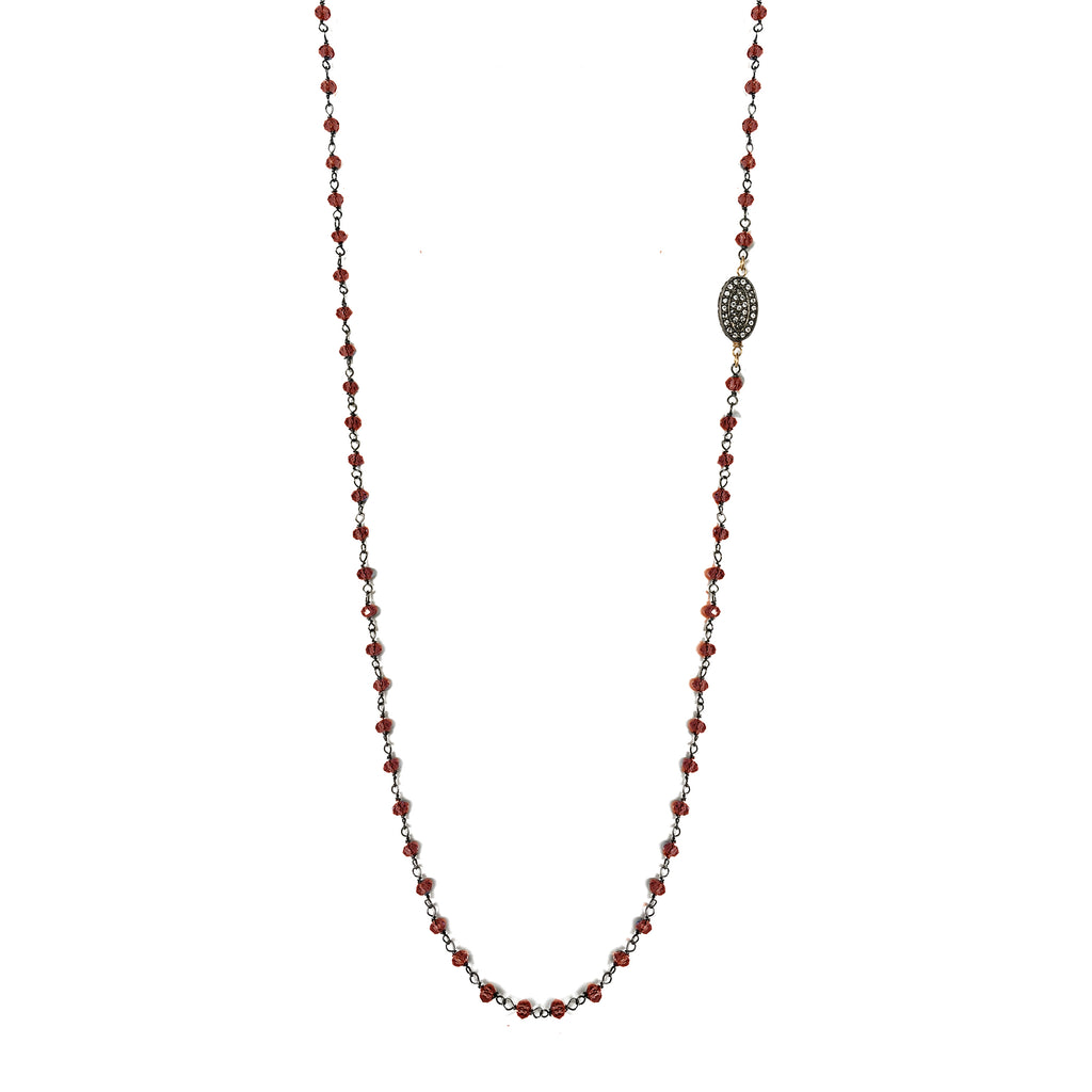 Red Garnet & Oval White Topaz Necklace, Necklaces - Luna Lili Jewelry