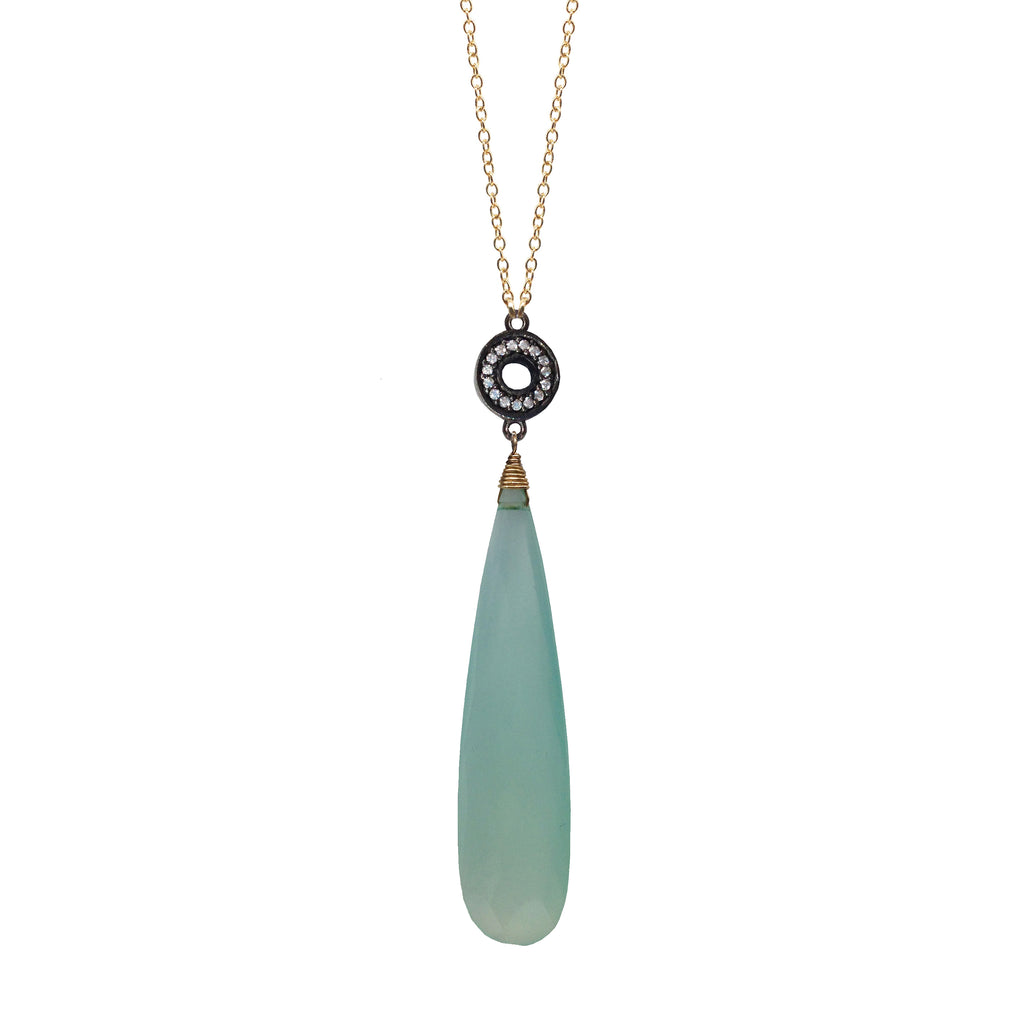 Seafoam Chalcedony Accent Necklace, Necklaces - Luna Lili Jewelry