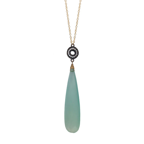 Green Onyx Chalcedony Accent Necklace
