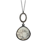 Dendrite Opal Oval Charm Necklace, Necklaces - Luna Lili Jewelry