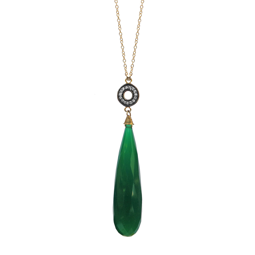 Green Onyx Chalcedony Accent Necklace, Necklaces - Luna Lili Jewelry