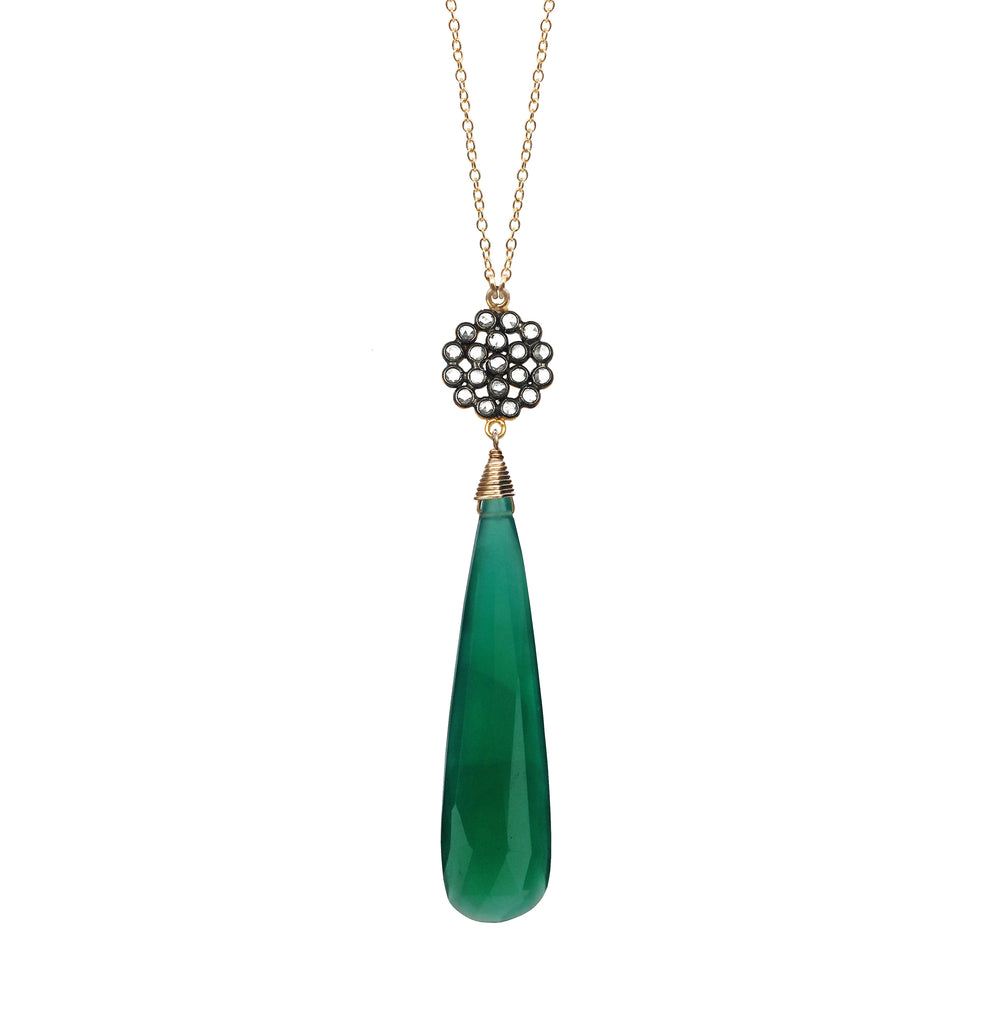 Green Onyx Chalcedony Floral Necklace, Necklaces - Luna Lili Jewelry