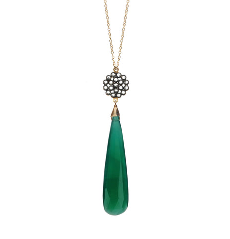 Green Onyx Chalcedony Circle Charm Necklace