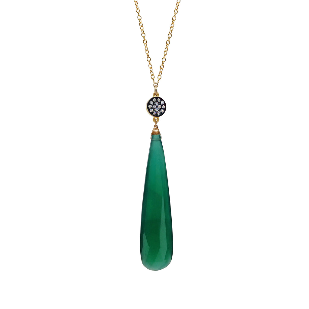 Green Onyx Chalcedony Circle Necklace, Necklaces - Luna Lili Jewelry