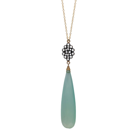 Green Onyx Chalcedony Floral Necklace