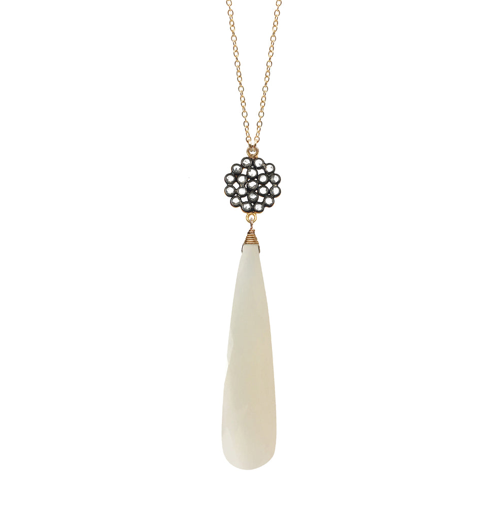 White Chalcedony Floral Necklace, Necklaces - Luna Lili Jewelry