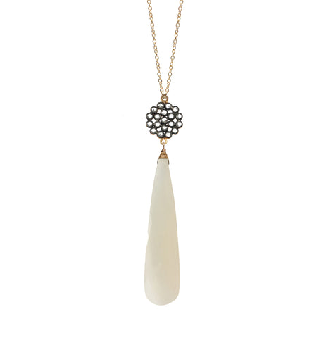 White Chalcedony Accent Necklace