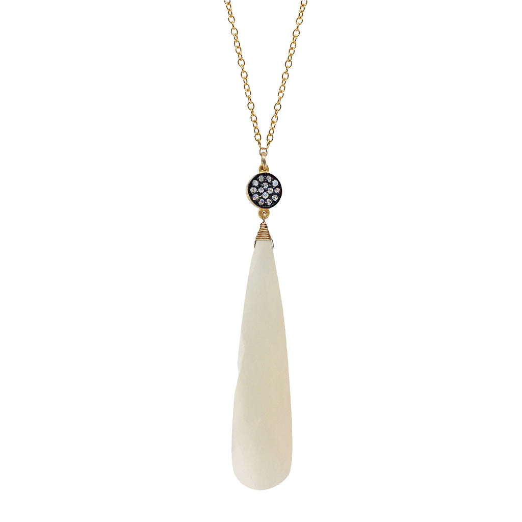 White Chalcedony Circle Necklace, Necklaces - Luna Lili Jewelry