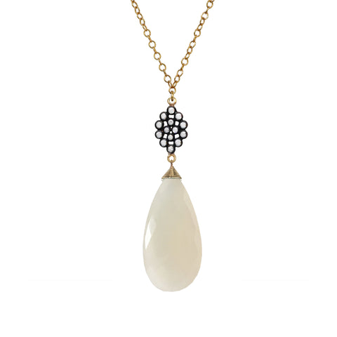 White Chalcedony Floral Necklace