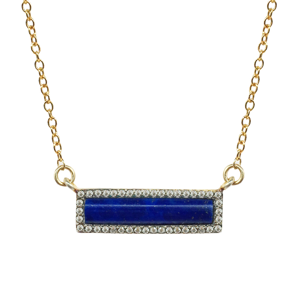 White Topaz Rectangular Lapis Necklace, Necklaces - Luna Lili Jewelry