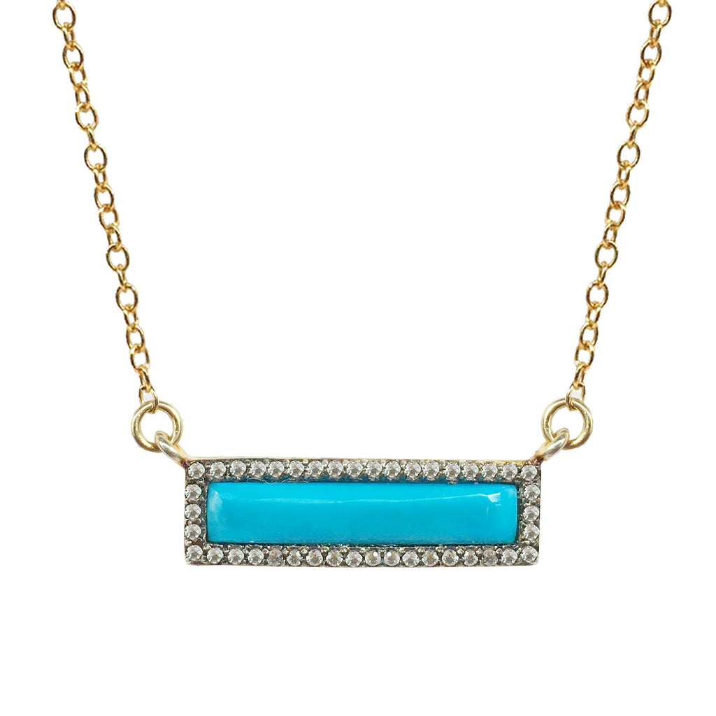 White Topaz Turquoise Bar Necklace, Necklaces - Luna Lili Jewelry