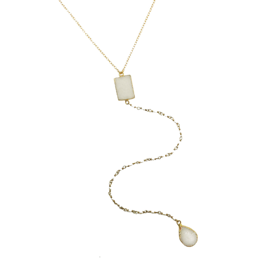 White Druzy and Pearl Lariat Necklace, Necklaces - Luna Lili Jewelry