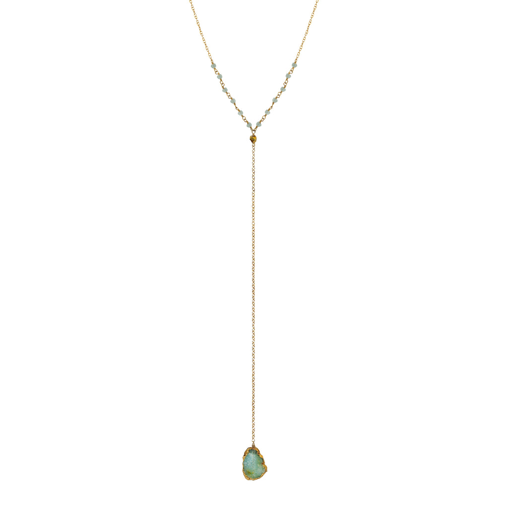 Green Druzy & Aquamarine Drop Y Necklace, Necklaces - Luna Lili Jewelry