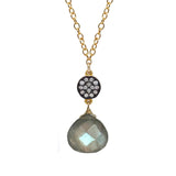 Petite Labradorite White Topaz Accent Necklace, Necklaces - Luna Lili Jewelry