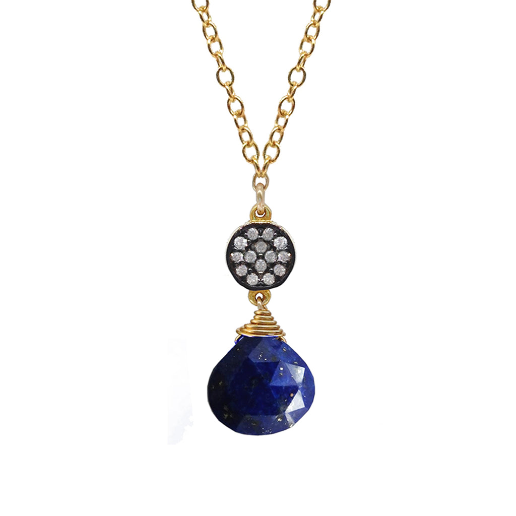 Petite Lapis White Topaz Accent Necklace, Necklaces - Luna Lili Jewelry