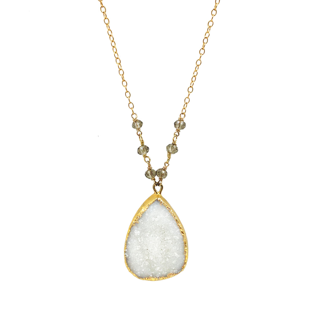 Teardrop White Druzy, Necklaces - Luna Lili Jewelry