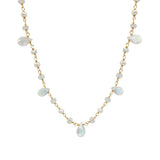 Moonstone Teardrop and Natural Pearls Necklace, Necklaces - Luna Lili Jewelry