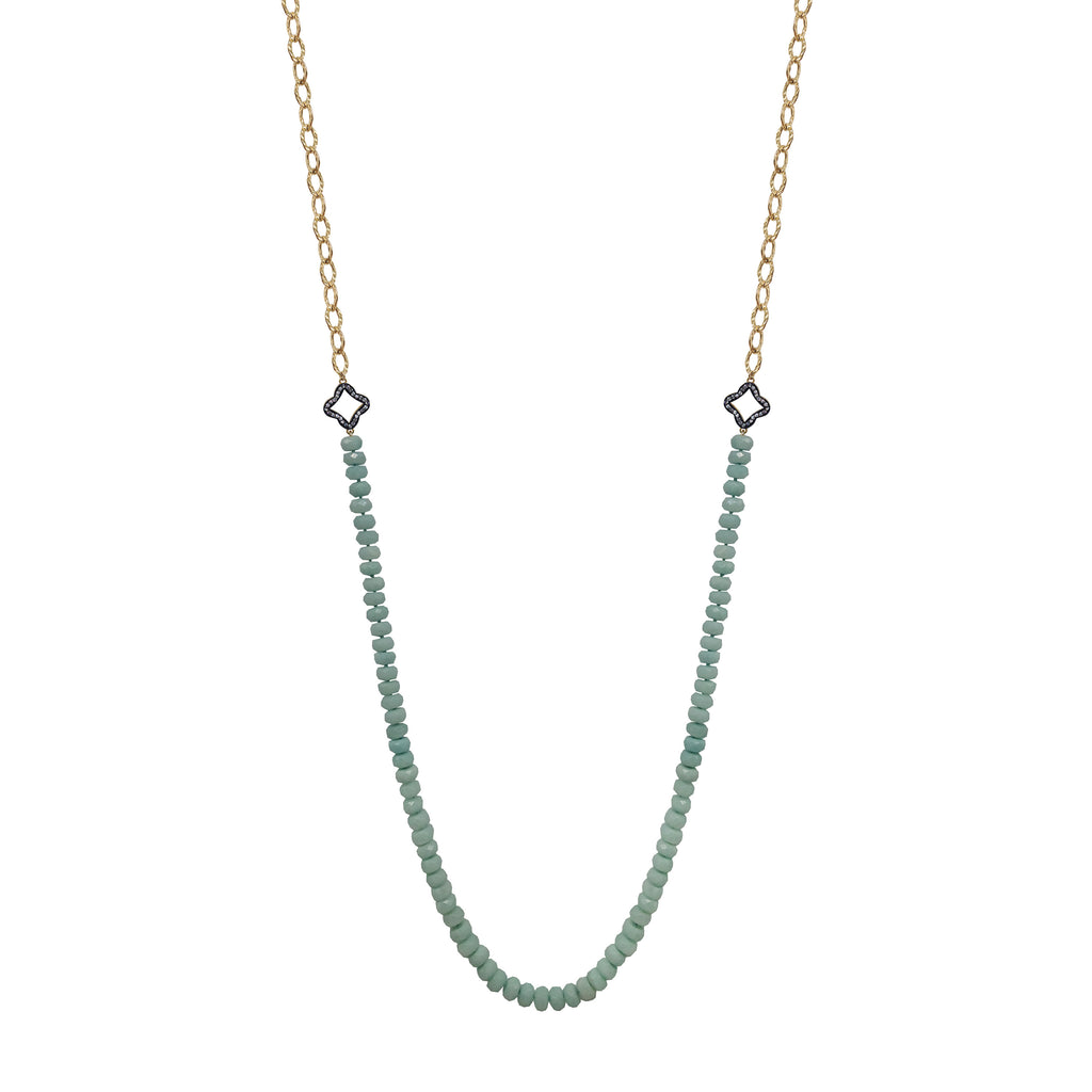 Amazonite Clover Topaz Necklace, Necklaces - Luna Lili Jewelry