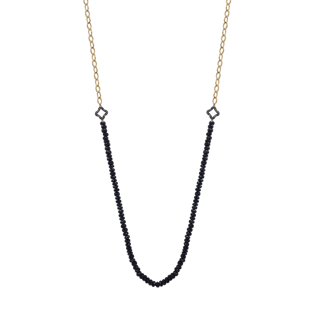 Black Onyx Clover Topaz Necklace, Necklaces - Luna Lili Jewelry