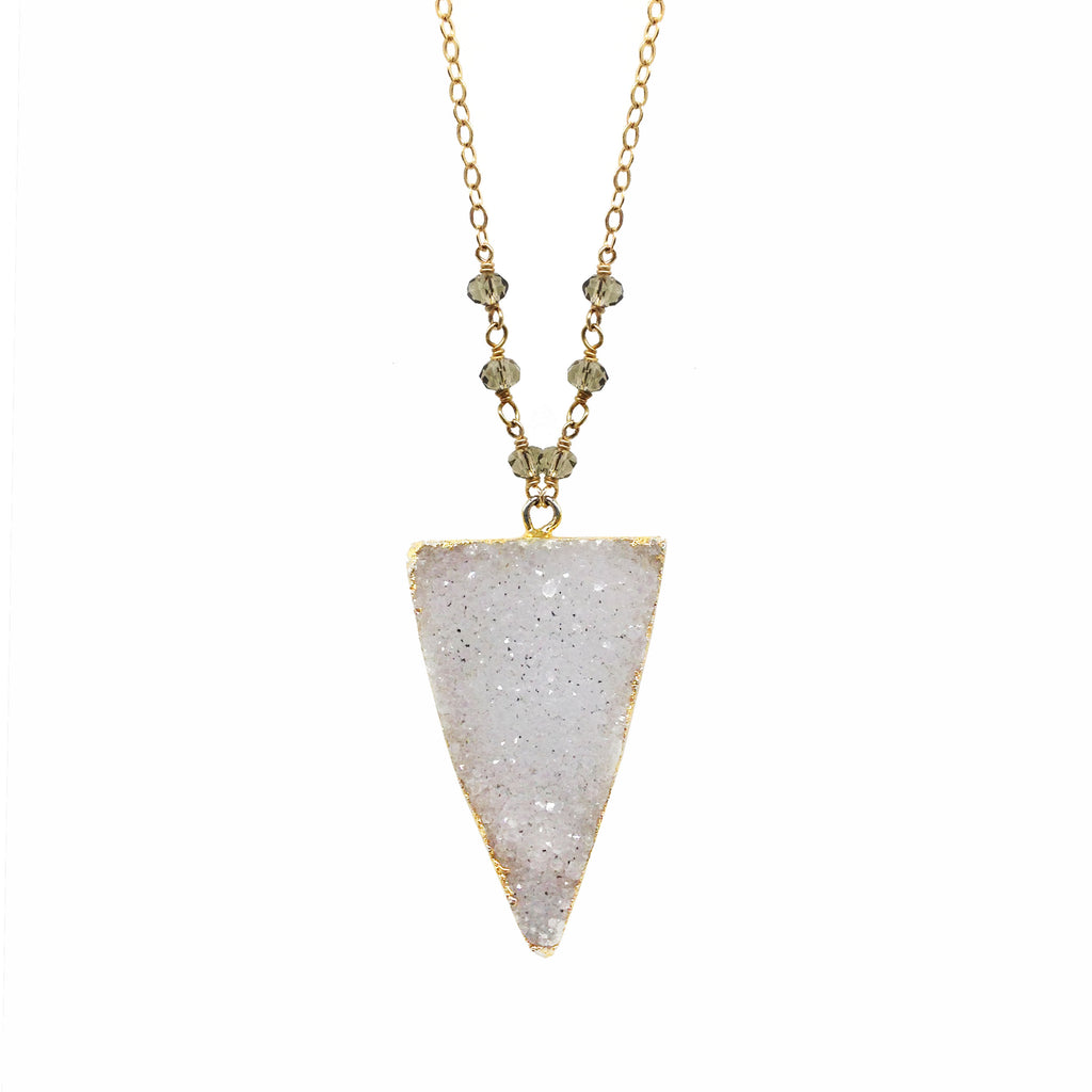 Triad White Druzy Necklace,  - Luna Lili Jewelry