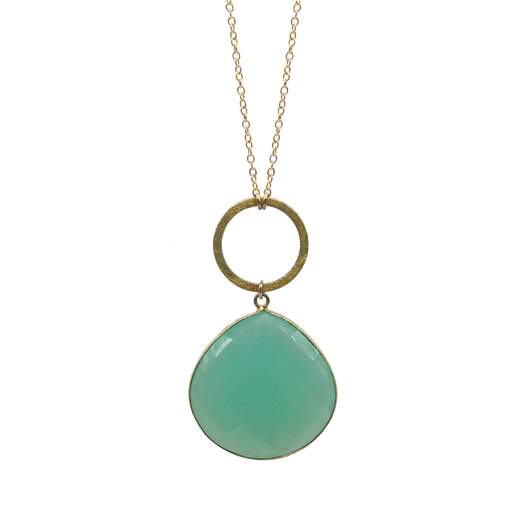 Chalcedony Hammered Circle Necklace, Necklaces - Luna Lili Jewelry