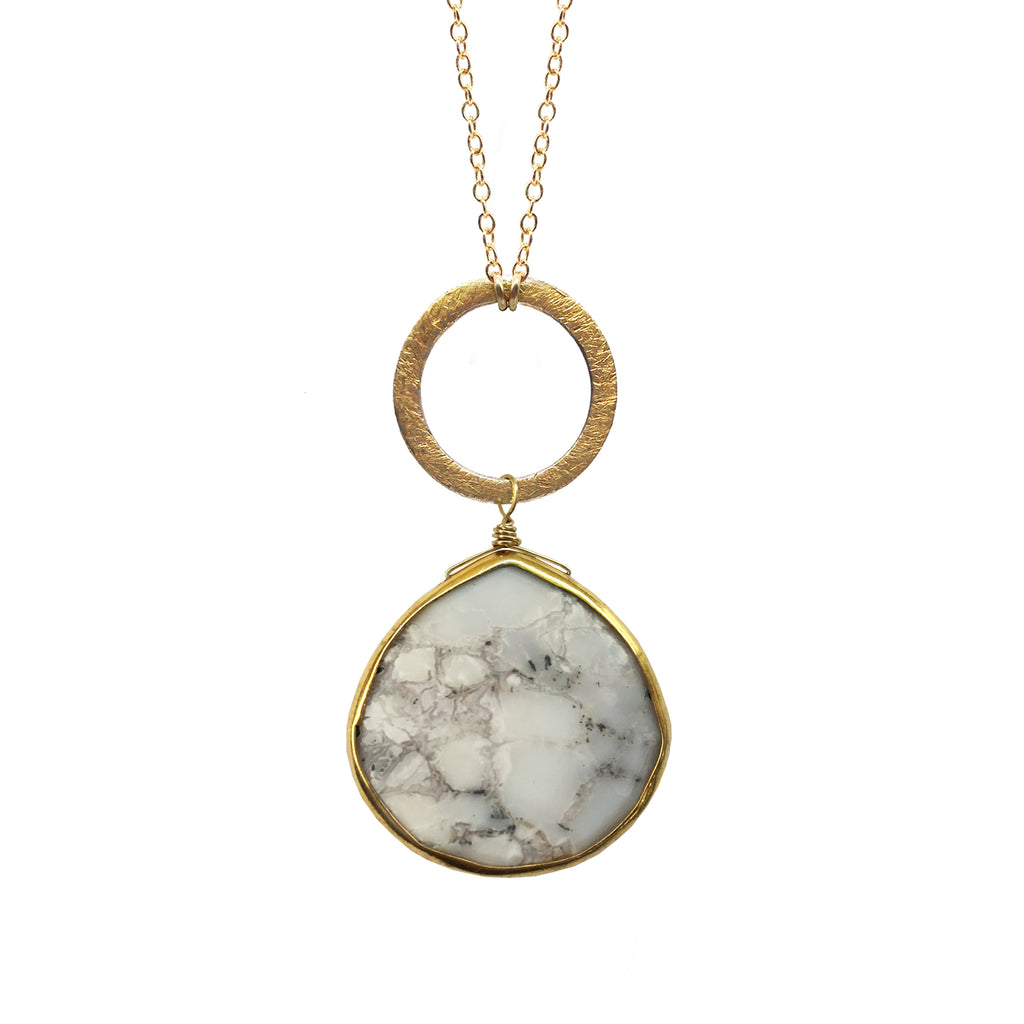 Dendrite Opal Disc Necklace, Necklaces - Luna Lili Jewelry