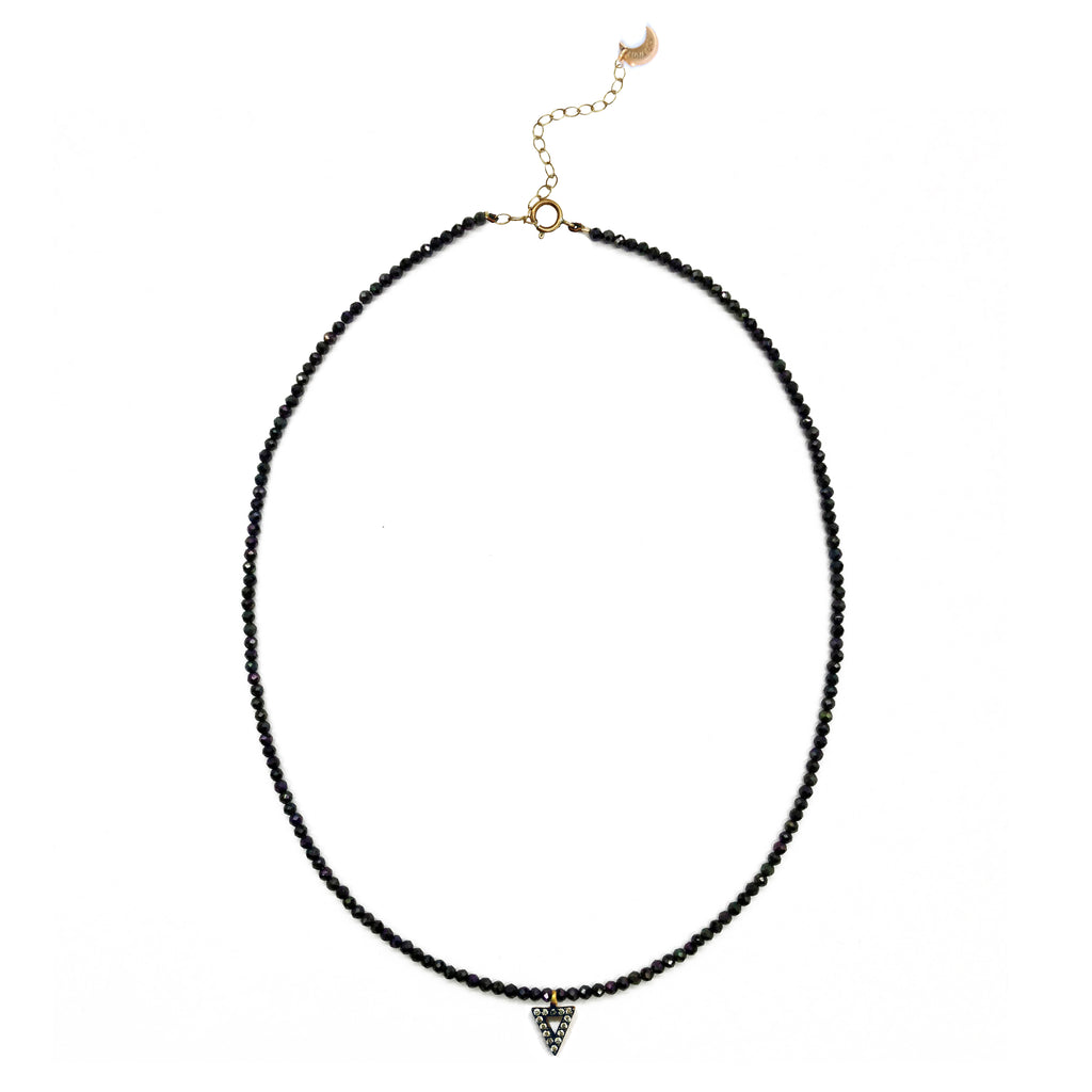 Delicate Bead Necklace with Triangle Charm, Necklaces - Luna Lili Jewelry