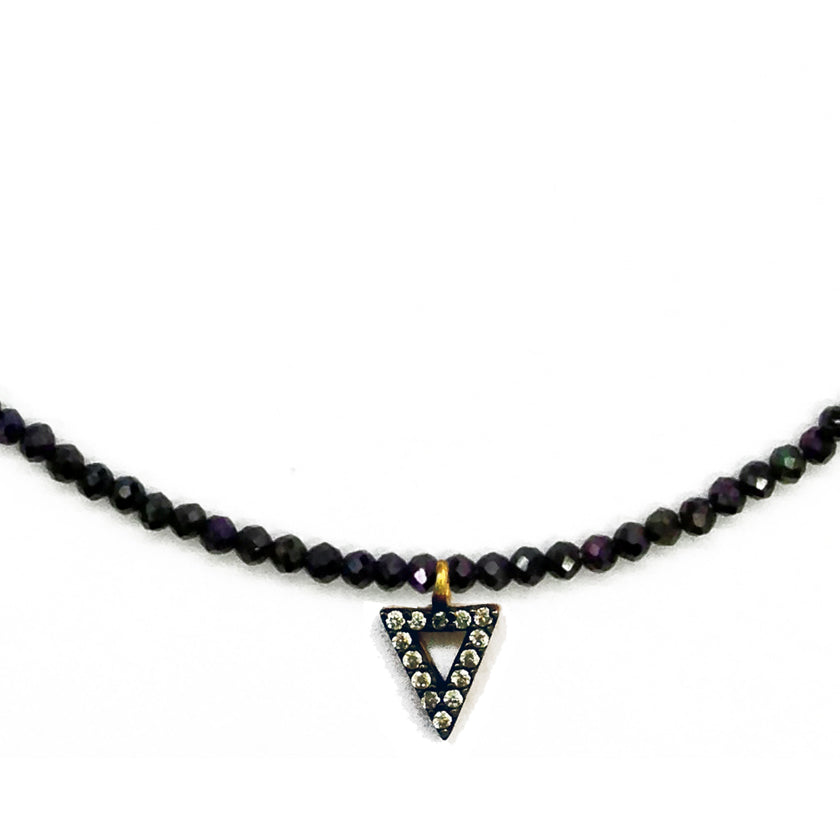 Delicate Gemstone Choker with Triangle Charm, Necklaces - Luna Lili Jewelry