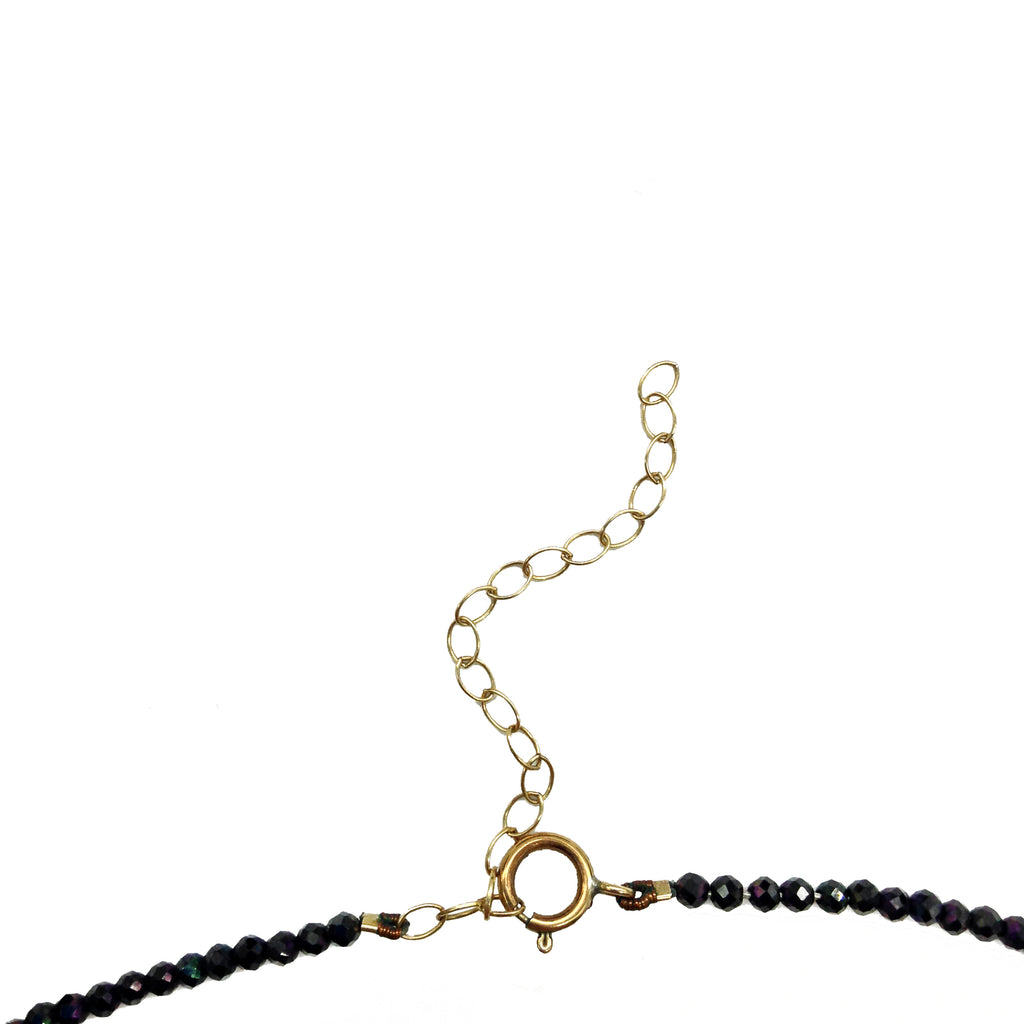 Delicate Black Spinel Bead Choker Necklace, Necklaces - Luna Lili Jewelry