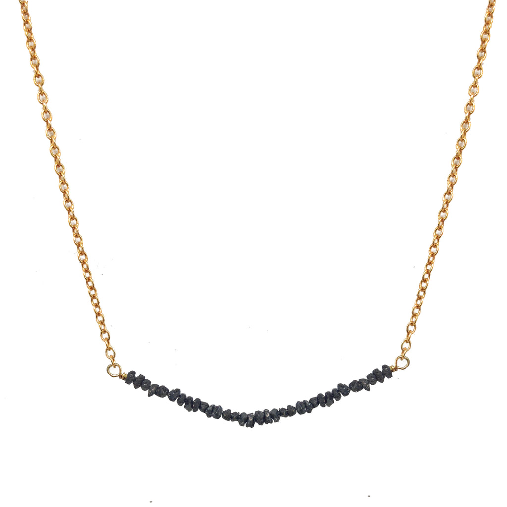 Charcoal Diamond Bar Necklace, Necklaces - Luna Lili Jewelry