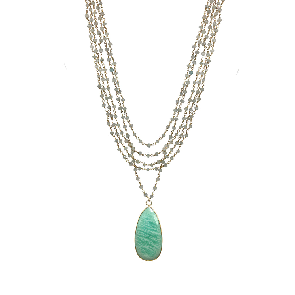 Amazonite Five Strand Necklace, Necklaces - Luna Lili Jewelry