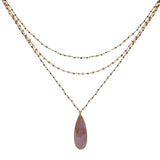 Pink Moonstone Triple Chain Necklace, Necklaces - Luna Lili Jewelry