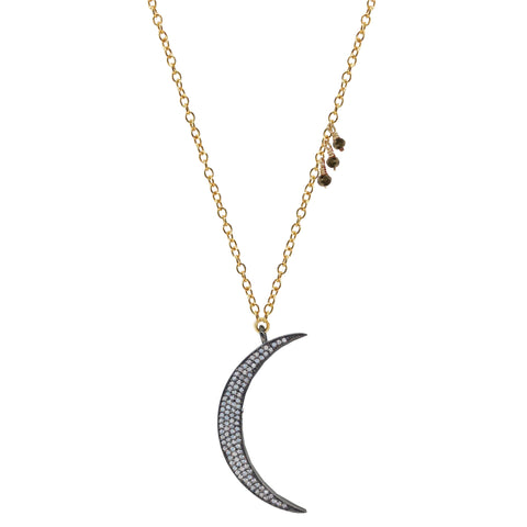 White Topaz Moon Necklace