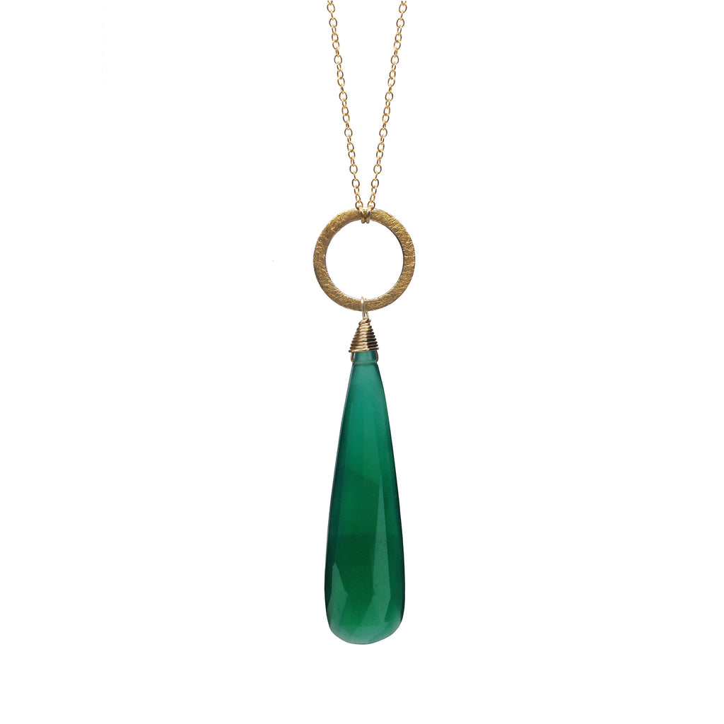 Green Onyx Chalcedony Circle Charm Necklace, Necklaces - Luna Lili Jewelry
