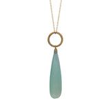 Seafoam Chalcedony Circle Charm Necklace, Necklaces - Luna Lili Jewelry