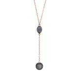 White Topaz Lariat Ball Necklace, Necklaces - Luna Lili Jewelry