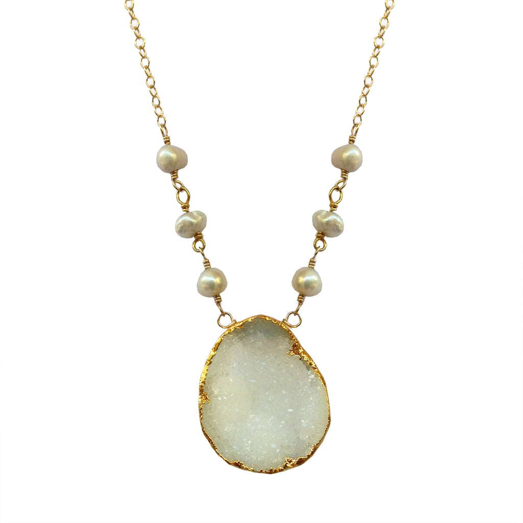 White Druzy and Pearl Necklace, Necklaces - Luna Lili Jewelry
