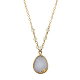 Druzy & Pearl Necklace, Necklaces - Luna Lili Jewelry