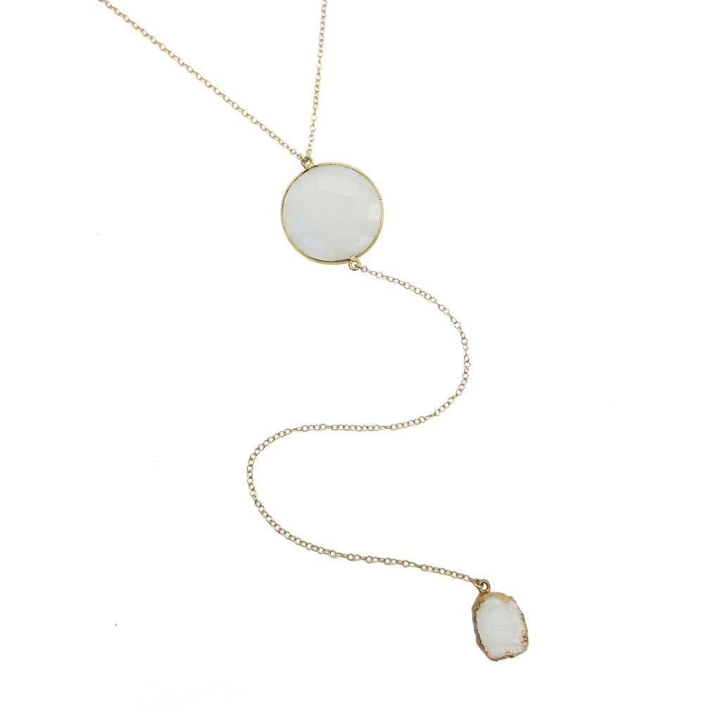 Round Moon & Druzy Y Necklace, Necklaces - Luna Lili Jewelry
