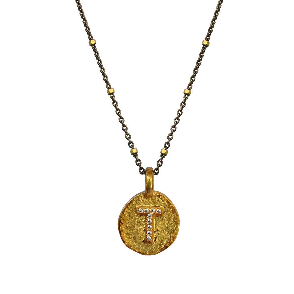 Initial Coin Two-Toned, Necklaces - Luna Lili Jewelry