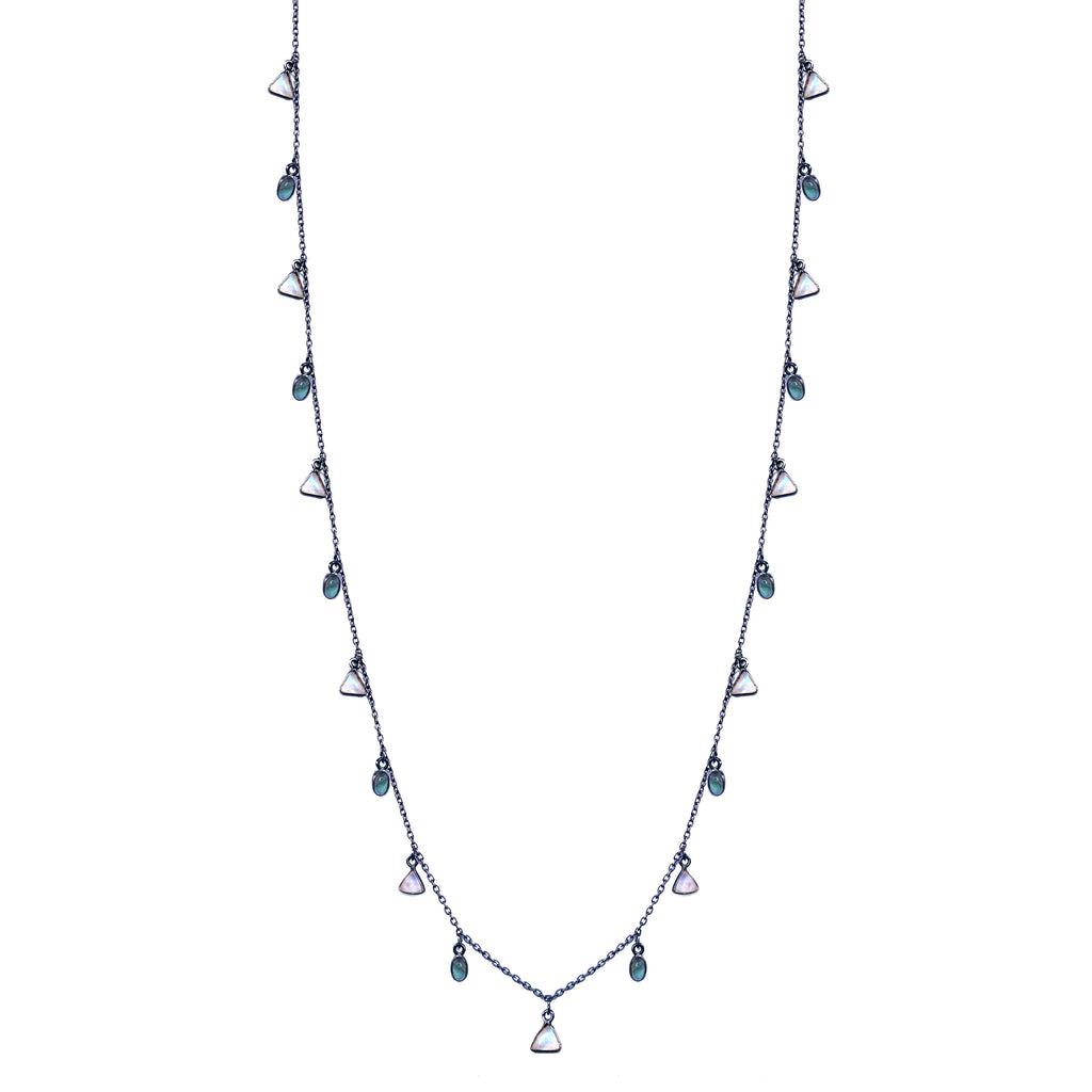 Moonstone & Lab Dangle Necklace, Necklaces - Luna Lili Jewelry