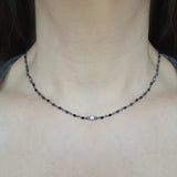 Black Spinel & CZ Bezel Necklace, Necklaces - Luna Lili Jewelry