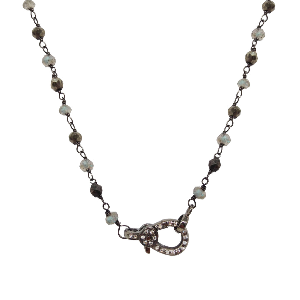 Juliette Small White Topaz Lobster Necklace, Necklaces - Luna Lili Jewelry