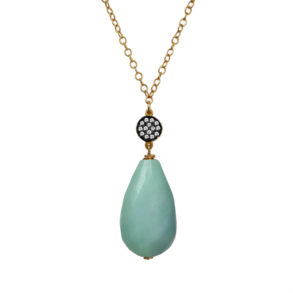 Amazonite White Topaz Necklace, Necklaces - Luna Lili Jewelry