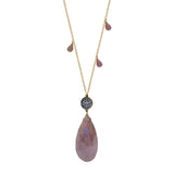 Pink Moonstone Teardrop Accent Necklace with Briolettes, Necklaces - Luna Lili Jewelry