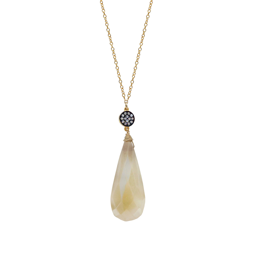 Pearl Chalcedony White Topaz Accent Necklace, Necklaces - Luna Lili Jewelry