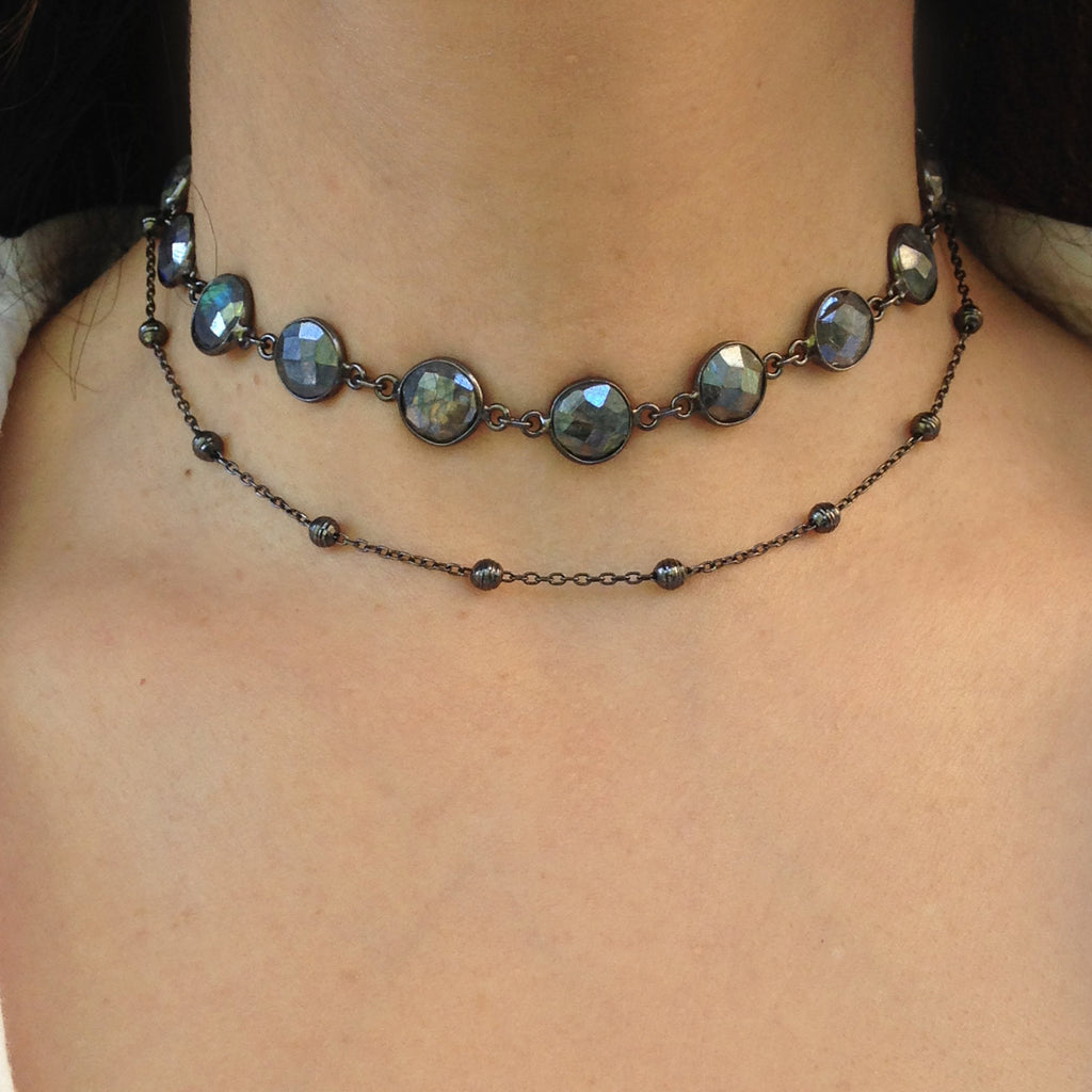 Labradorite Double Choker Necklace, Necklaces - Luna Lili Jewelry