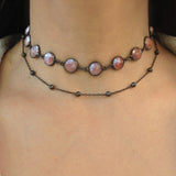Large Mystic Pink Quartz Double Choker Necklace, Necklaces - Luna Lili Jewelry