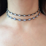 Moonstone Bezel Choker Necklace, Necklaces - Luna Lili Jewelry