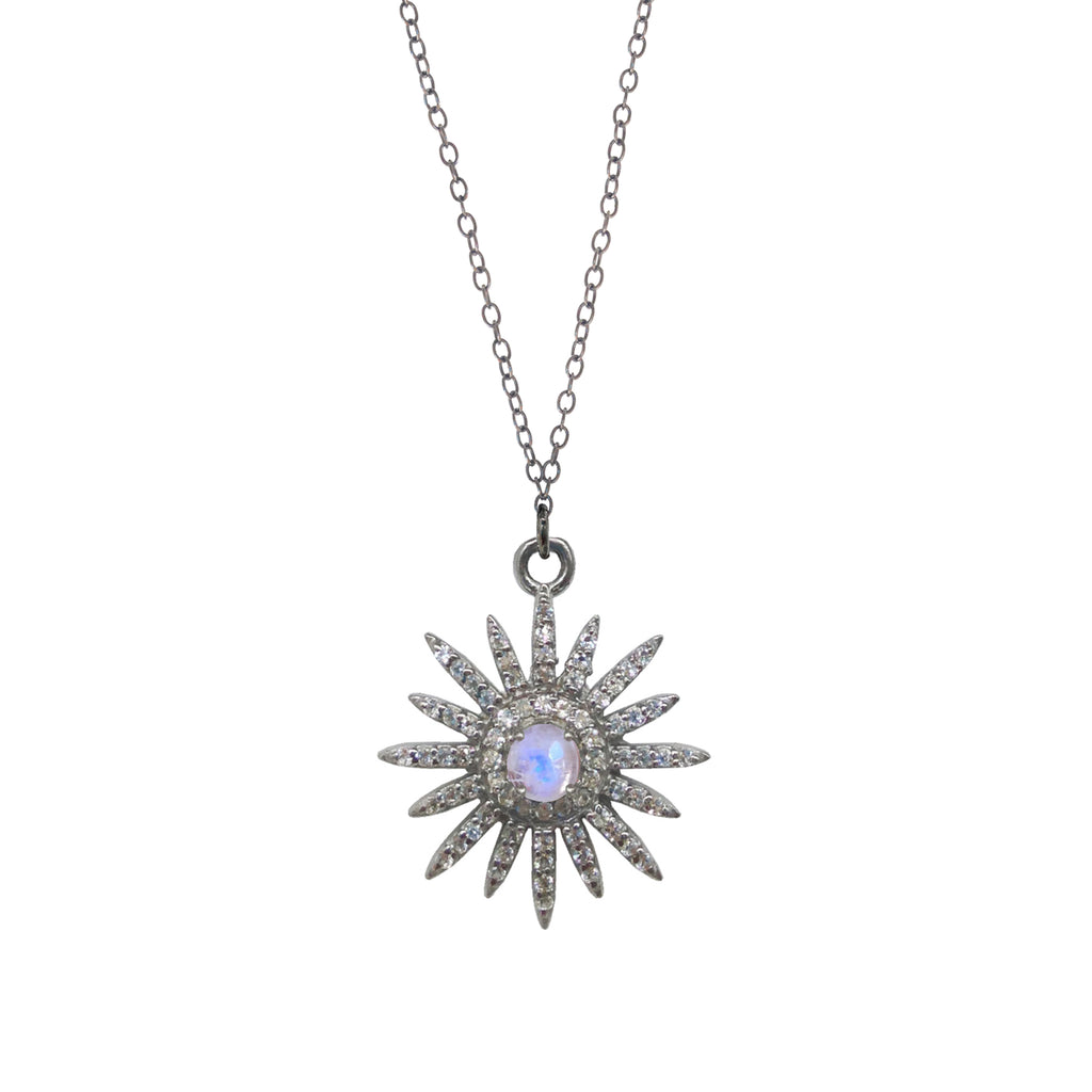 Small Moonstone Starburst Necklace, Necklaces - Luna Lili Jewelry